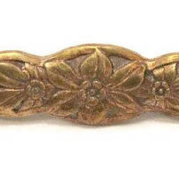 1930's Art Nouveau Bar Pin, Copper With Flower Design