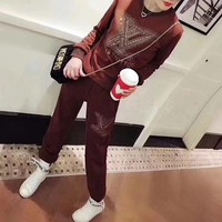 """Louis Vuitton"" Women Casual Fashion Hot Fix Rhinestone Letter Pattern Long Sleeve Sweater Trousers Set Two-Piece Sportswear"