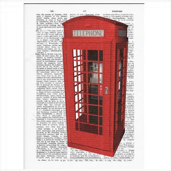 Vintage Dictionary Paper - London Phone Box Dictionary Art Print