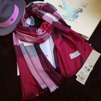 Burberry Fashion Women Red Pink Collocation Easy to match Silk Scarf G-XLL-WJ
