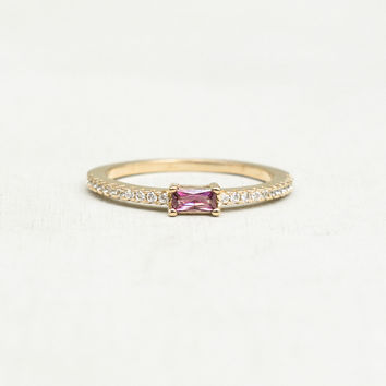 Baguette Eternity Ring - Gold + Rhodolite