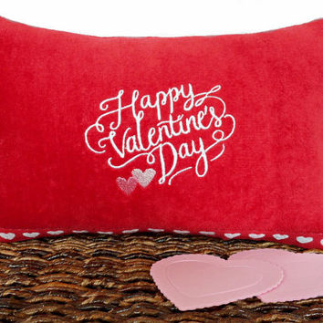 Happy Valentine's Day Accent Pillow Cushion Hearts Red Pink White Decorative Repurposed