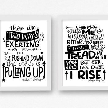 But still I rise - Exerting One's Strength - hand lettered quote set of 2, 5x7, 8x10, 11x14, 12 x 16 Maya Angelou, Black Lives Matter poster