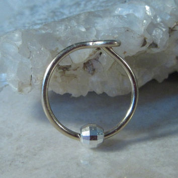Cartilage Earring Gold Hoop with Silver Mirror Cut Bead Single