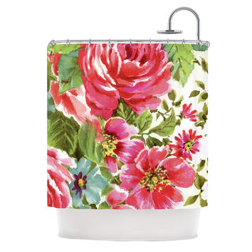 "Heidi Jennings ""Walk Through The Garden"" Pink Flowers Shower Curtain"