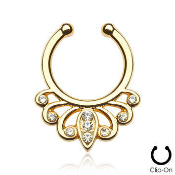 Gold Cosmic Filigree Septum Clip-On
