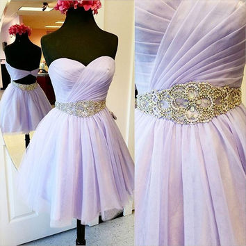 Lavender Sweetheart Pleat Beading Homecoming Dresses