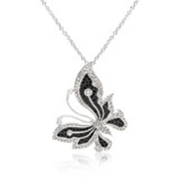 BLACK AND WHITE LARGE CUBIC ZIRCONIA BUTTERFLY NECKLACE