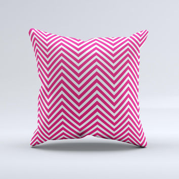 White & Pink Sharp Chevron Pattern Ink-Fuzed Decorative Throw Pillow