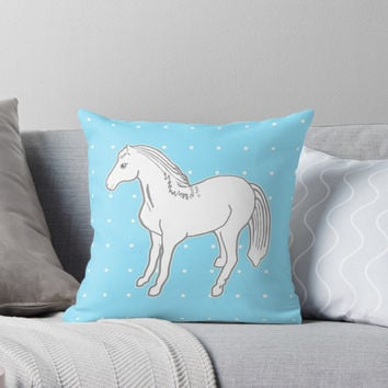'White Horse with Light Blue & Polka Dots' Throw Pillow by Abigail Davidson