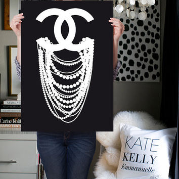 chanel print - chanel poster  - chanel inspired - CC dripping pearl - Coco Chanel art - chanel art - wall decor - fashion print