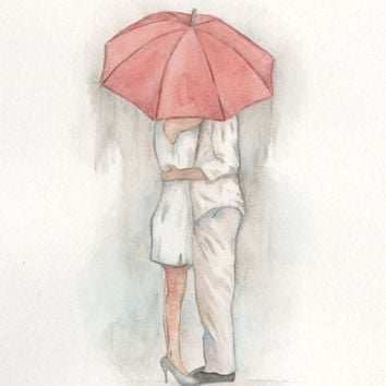 "Watercolor Red Umbrella Art, 8""x10"" Giclee Print, Rainy Day, Couple Under the Umbrella, Fashion Art, ""I Don't Mind the Rain"", Storm"