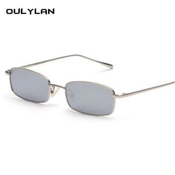 Oulylan Metal Sunglasses Women Men Vintage Rectangle Sun Glasses Retro Female Red Yellow Lens Glasses Small Frame Eyeglass