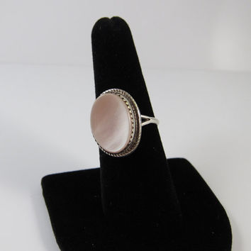 Sterling Silver Vintage Pink Mother of Pearl Ring, Native American Mother of Pearl Ring, Navajo Mother of Pearl Ring, Vintage Ring Size 8