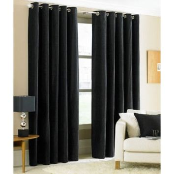 (#32) Hotel Quality SILVER Grommet Top, FAUX SILK 1 PANEL BLACK SOLID THERMAL FOAM LINED BLACKOUT HEAVY THICK WINDOW CURTAIN DRA