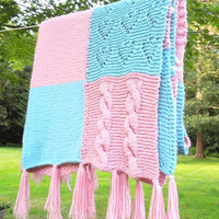 "Pink and turquoise crochet afghan blanket throw - Vintage pastel-square afghan 59"" x 52"""