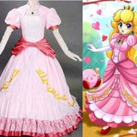 New Arrival Princess Peach Deluxe Super Mario Brothers Nintendo Halloween Costume For Adult Women