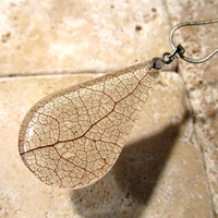 Skeleton Leaf Necklace, Salal (Gaultheria shallon), Leaf Jewelry, Plant Jewellery, woodland, nature, rustic,