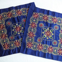 Blue and gold pillow covers/ vintage metallic pillow covers/ blue gold burgundy green flowers/ bohemian decor/ set of two boho pillow covers