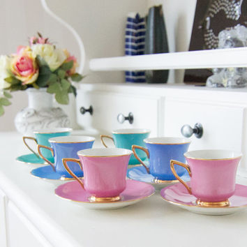 Windsor Carlsbad Set of 6 Cups and Saucers made in Czechoslovakia