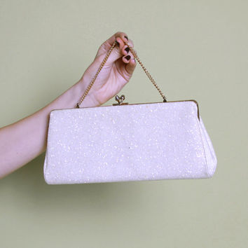 60s White Glitter PURSE / Iridescent Bridal CLUTCH Optional Handle