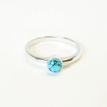 Turquoise Ring In Sterling Silver Handmade Beachy Boho