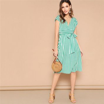 Green Boho Deep V Neck Mixed Striped Belted Midi Dress Women Casual High Waist Batwing Sleeve A-Line Dresses