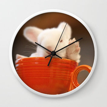 Teacup Bunny Wall Clock - Kids Nursery Decor, Baby Animal, White Rabbit, Alice and Wonderland, Tea Time, Orange Clock, Photography