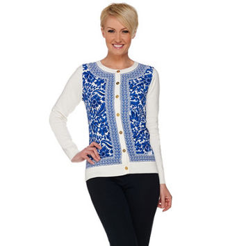 C. Wonder Printed Woven Front Knit Cardigan with Status Buttons — QVC.com