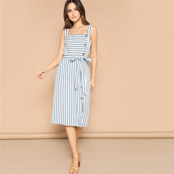 Boho Blue Slit Hem Buttoned Striped Belted Spaghetti Strap Dress Women Pinafore Midi Straight Elegant Dresses
