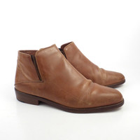 Joan and David Boots Vintage 1980s Brown Leather Ankle  Women's size 10 M