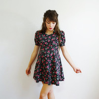 floral vintage dress - cotton flower retro 80s 1980s - short mini circle skirt puff skater - sleeve rose pink black green - women small xs