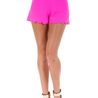 Dancing Tonight Scalloped Shorts - Hot Pink