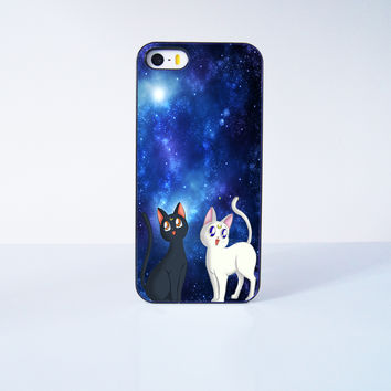 Sailor Moon Luna and Artemis Cat Plastic Case Cover for Apple iPhone 5s 5 6 Plus 6 4 4s  5c