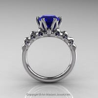 Nature Inspired 14K White Gold 2.0 Carat Blue Sapphire Organic Design Bridal Solitaire Ring R670s-14KWGBS