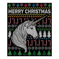 Unicorn Ugly Christmas Sweater Wildlife Series Poster