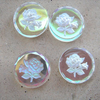 Engraved intaglio flower aurora borealis glass cabochons 4 in lot
