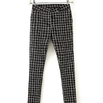 Black and White Plaid Leisure Trousers