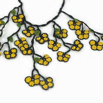 Crochet Oya Necklace , Mustard yellow and black  Vegan friendly Bohemian Jewelry,  Flower Fiber  Necklace Christmas Gift Ideas for Her