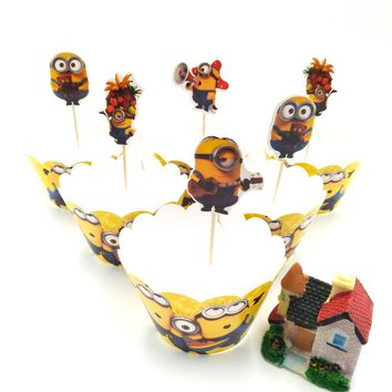 24Pcs Minions Cake Toppers +Cupcake Wrappers Birthday Party Cake Decoration Baby Shower Minions Party Supplies
