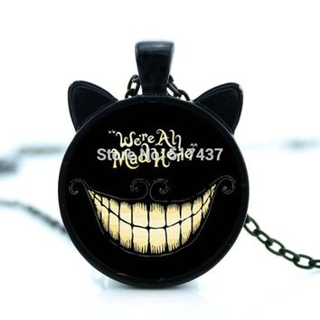 HZShinling Alice Adventures in Wonderland Necklace We're All Mad Here Jewelry Cheshire  Pendant Glass Dome Necklace HZ2-00714