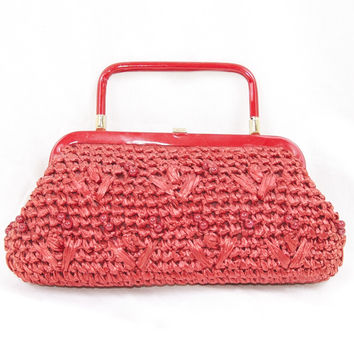 Red Raffia Purse Vintage 60's