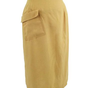 40s 50s Soft Yellow Silk Noil Wrap Skirt