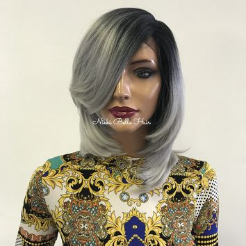 Silver gray ombre' lace front wig  - Amsterdam 0418 34