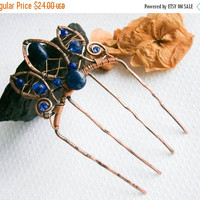 Rennaissance hair comb , medieval haircomb, baroque headpiece, royal wedding,gothic lolita,princess hair accesorie,copper, lapis lazuli