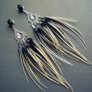Dangle Plug Feather Gauges - Organic Plugs or Tunnels w/Tribal Feathers and Crystals Silver Black Ivory Dangly 2g 0g 00g 1/2 9/16 5/8