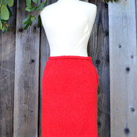 Vintage Pencil Skirt by Edward Warren, VHTF Label, Bright Red Wool Skirt, Lined, Size 6-8, circa 1960s