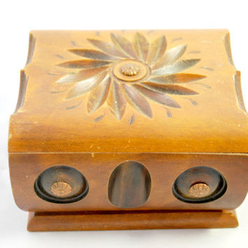 Wood Hand Carved Box for Cigars or Cigarette , Floral Wood Trinket  Box