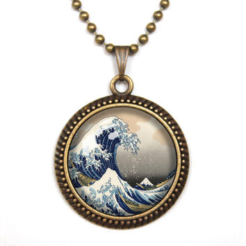 Handmade Great Wave Necklace Great Wave jewelry, Great Wave Pendant charm,Great Wave gift,friend gift Necklace