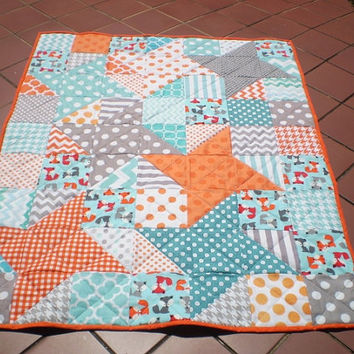 Modern baby quilt,baby quilt,baby boy or girl quilt,rustic,woodland,crib bedding,foxes,orange,grey,teal,aqua,chevron-Shooting Stars-Foxes